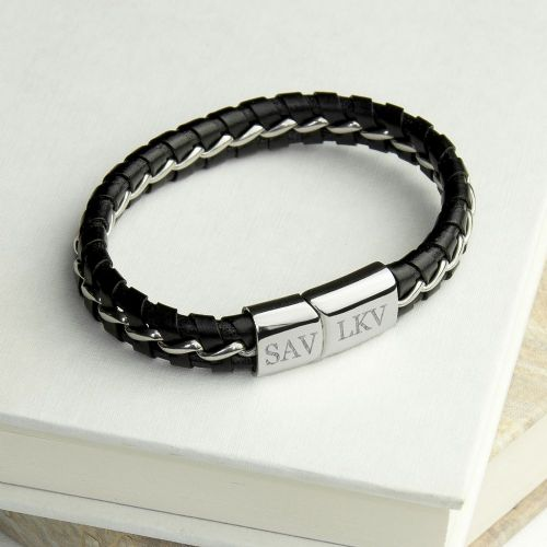 Personalised Metal Detailed Leather Bracelet